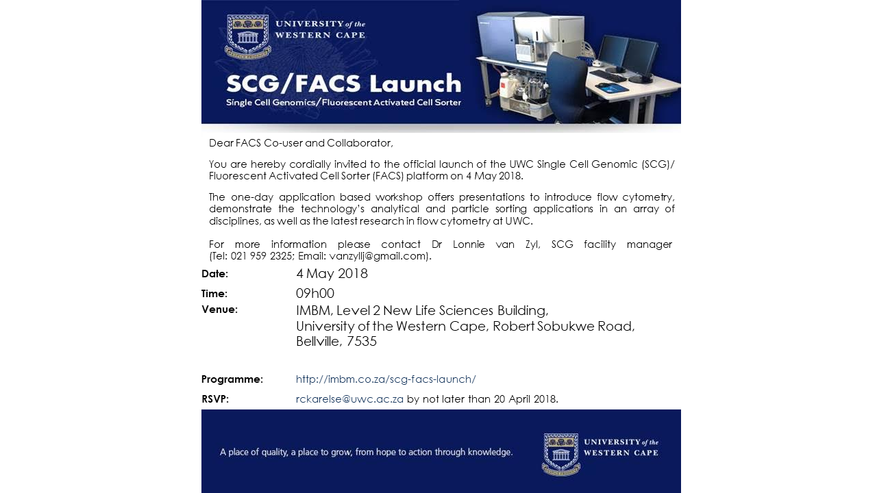 SCG / FACS Launch | IMBM: Institute for Microbial